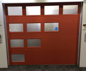 custom glass on a garage door